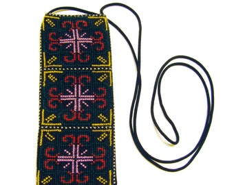 Cross Stitch Embroidered Eye Glass Case Pouch - green red lavender yellow white