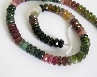 Tourmaline Faceted Rondelle Beads, 7.5mm Rondelles, Watermelon Tourmaline, Multi Tourmaline, 7mmm Genuine Pink and Green Tourmaline, Tour201