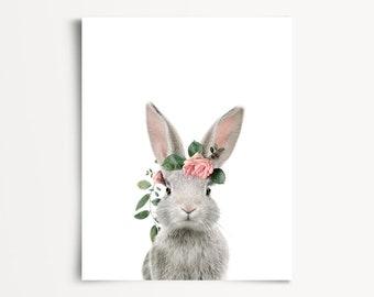 Bunny rabbit print, Rabbit flower crown, PRINTABLE nursery art, The Crown Prints, Baby animals, Girls nursery art, Girls room decor, Floral