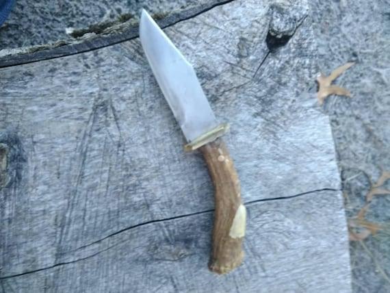 Deer antler knife, Rustic knife, handmade knife, Hunting knife with deer horn, Camp knife