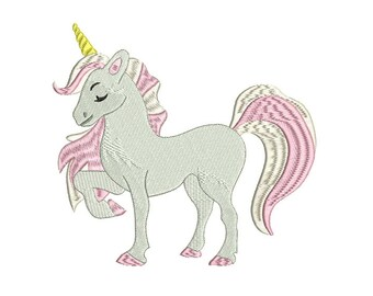 Pink Unicorn Machine Embroidery File design 7x12 inch or 18x30cm hoop unicorn embroidery in the hoop ITH Instant download