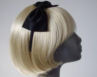 Black Satin Bow Headband, Black Headband, Black Bow Headband, Black Bow Aliceband, Black Hair Bow, Black Hair Accessories, Black Satin Bow