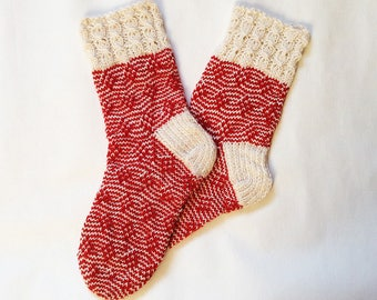 Socks, hand knitted wool socks, women socks, red socks