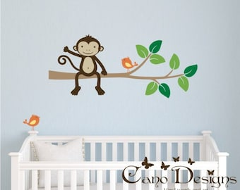 Monkey sitting on a  Branch with birds,  Kids Vinyl Wall Decal Sticker Set, nursery, removable wall decal set