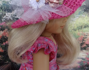 """Pink batik sundress with """"straw"""" hat for American Girl or similar 18 inch doll"""