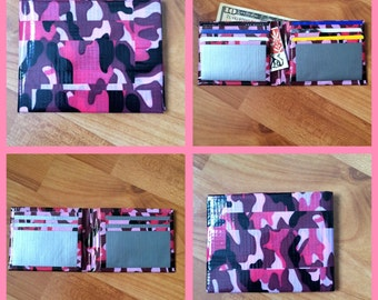 Pink Camo and Silver Duct Tape Wallet