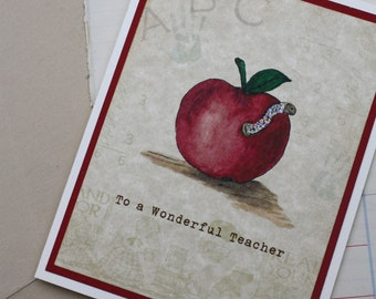Thank You Teacher Apple and Glitter Worm Handmade Greeting Card