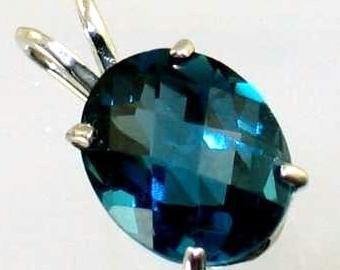 London Blue Topaz, 925 Sterling Silver Pendant, SP002