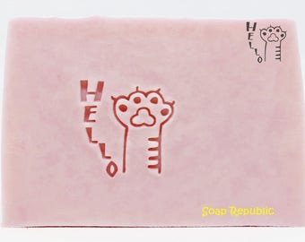 SoapRepublic 'Hello' Acrylic Soap Stamp / Cookie Stamp / Clay Stamp