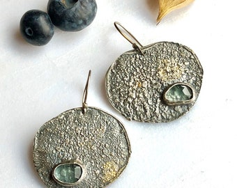 big but very light weight aquamarine earrings with sterling and bits of 22k gold. TaiVautierJewelry