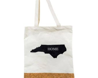 North Carolina State Love 'Home' Cork and Canvas Tote Bag