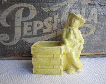 Vintage Western Cowboy Planter Pencil Paint Brush Holder