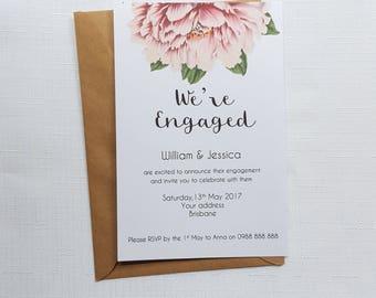 We're Engaged Vintage Peony Invitations   Botanical Peony Engagement Invites   Engagement Invitations x 20   Printed Invitations