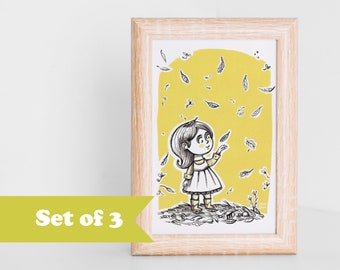 Postcard SET, 3 girl with autumn foliage illustration card, art for kids, fall leaves, for autumn addicted