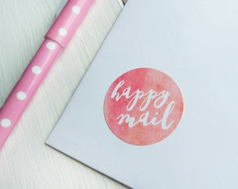 40 Happy Mail Stickers Happy Post Letter Small Envelope Seals Watercolour Peach Blue Green Pink 32mm / Stationery / 230