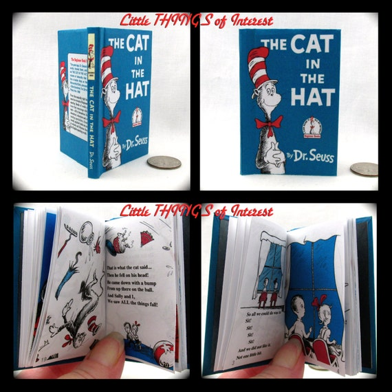 THE CAT In The HAT Book in 1:3 Scale Readable Book American Girl Accessories Dr Seuss Children's Nursery Story 18 inch Ag Doll 1/3 Scale