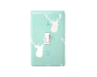 Deer Switch Plate Cover - Woodland Light Switch Cover - Woodland Nursery - Mint White Deer Decor