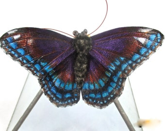 Leather Red-Spotted Purple butterfly brooch