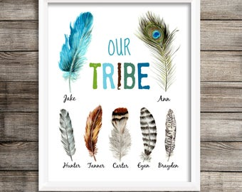 Boho Tribal Print, Personalized 'Our Tribe' Wall Art, Tribal Home Decor, Feather Print, Custom Name Print, Tribal Art, Family Room Art