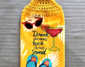 DRINK, TOES, SAND Extra Plush Crochet Towel, double layer towel, hanging towel, beach house, cocktails, sunglasses, beach lover towel, gold