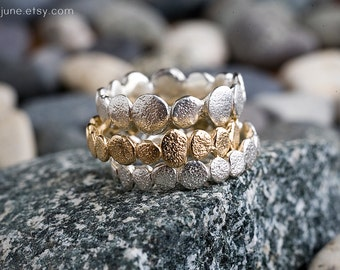 Sterling Silver Small Pebble Ring | Stacking Ring | Nature Inspired Ring
