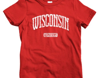 Kids Wisconsin Represent T-shirt - Baby, Toddler, and Youth Sizes - Wisconsin Tee, Madison, Milwaukee, Green Bay - 4 Colors