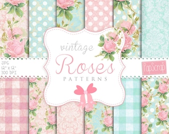 "Shabby chic digital paper : "" Vintage Roses Patterns"" flower digital paper in pale pink and blue for wedding invitations, scrapbooking"