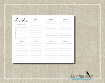 To Do List - Whimsical Black Printable Weekly Planner Page - Daily Planner Sheet - Grocery List Planner