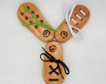 Shoe Lace Tie Tying Practice and Learn Traditional Teaching Aid Wooden Toy Montessori Theory