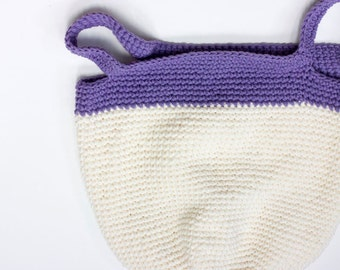 Cotton Market Tote Bag,  Hand Crocheted Spring Summer Tote,  Book Bag, Purple White Bag, Ready to Ship