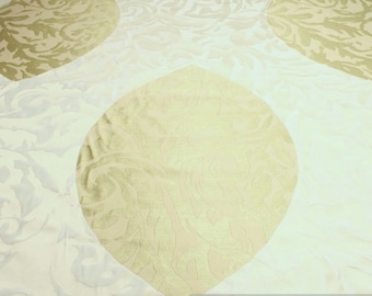 Fabric Trevira® CS jacquard leaf ecru champagne not flammable