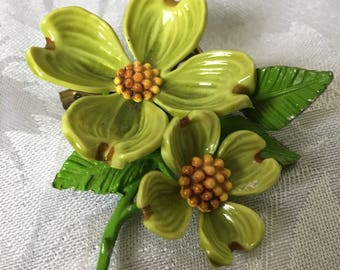 Beautiful and Unique Vintage Dogwood Brooch