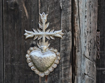 "Haitian Metal Heart ""Ezili Freda"" Sacred Heart Recycle Oil Drum Art 12.5"" x 20.5"""
