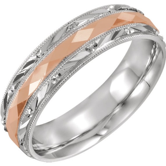 14K White and Rose Gold Comfort Fit Wedding Ring Anniversary Band All Sizes Available