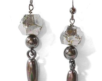 Pyrite and Hematite Dagger Earrings