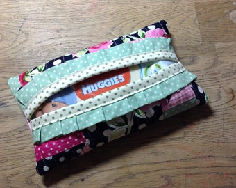 Handmade quilted patched baby wipe case floral with ruffle new