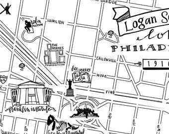 Logan Square Hand-Drawn Map Philadelphia