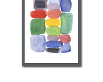 Watercolor painting Color Blocks Giclee print from Watercolor painting - Abstract home decor red, green, black, yellow