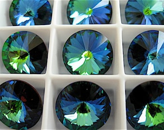 4 Crystal Green Sphinx Swarovski  Rivoli Stone 1122 12mm