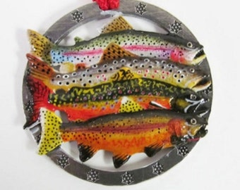 Painted ~ Trout Grand Slam ~ Holiday Ornament ~ FP012OR