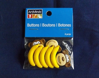 8PC Monkeys & Bananas Buttons and Embellishments - Art Minds