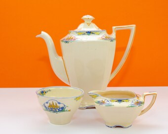 John Maddock and Sons coffee set for six, 1940s, Art Deco style