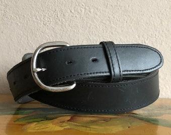 Black Leather Belt Vintage Distressed