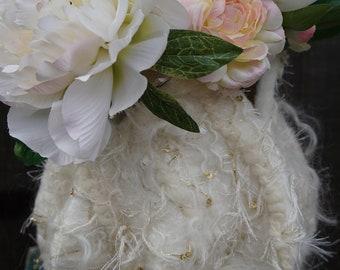 White Textured Felted Vessel (Vase)