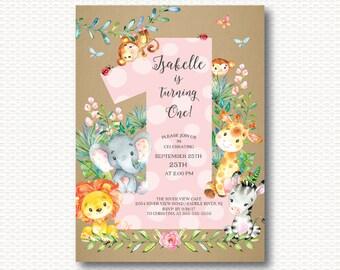 Safari First Birthday Invitation, Jungle, Safari, 1st Birthday, One, Cute, Monkey, Elephant, Lion, Giraffe, Zebra, Girls ,Digital Printable