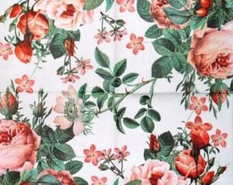 TOWEL in paper pink roses #F125