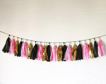 Tassel Garland | Tassel Banner | Pink, Gold, and Black Tassel Garland | Tassels | Birthday Party Decor | Bridal Shower Decor | Party Decor