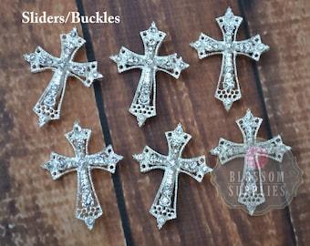 Metal Rhinestone Cross Ribbon Buckles Sliders 27mmX35mm - Flower Centers - Wedding Bridal Prom Christening Baptism - Wholesale Supplies