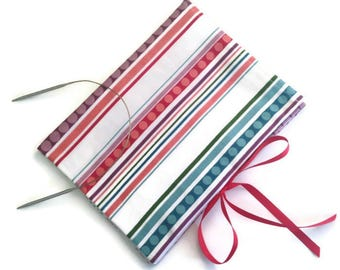 Circular Needle Organizer Striped Fabric Folding Needle Case Knitting Needle Storage Case with 12 Pockets Book Fold Case