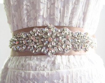 SQA-14 / Rhinestone Bridal Ribbon Sash / Double Faced Ribbon Sash / Bridal Sash / Bridal  / Embellished Sash / Wedding Belt / Bridal Belt